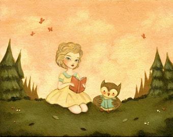 Story Time Print 10x8 - Children's Art, Nursery Art, Owl, Pink, Peach, Green, Aqua, Red, Pastel, Girl, Books, Reading, Baby, Cute, Kids Art