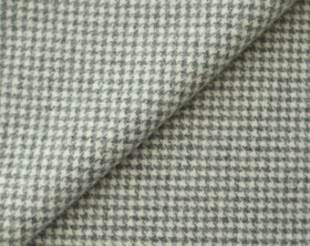 Grey and Natural Houndsooth Felted Wool Fabric /100% Wool in  Perfect For Rug Hooking and Applique