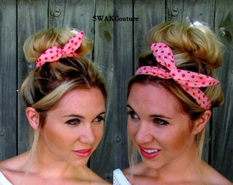 Bun Wire Wrap Bun Maker Pink on Pink Polka Dot Wired Flex Headband Pin Up Girl PonyTail Braid Ins Bun Wraps Hair Tie - Choose Your Color