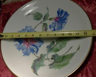 """Vintage ROSENTHAL Porcelain 13"""" Centerpiece Fruit Bowl EXOTIC FLORAL Kunstabteilung Sander Luske Centerpiece Morning Glory Flower Cottage"""