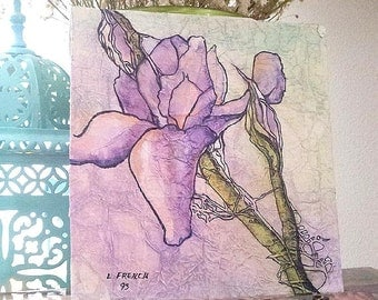 Original Painting WILD IRIS Floral ZEN Inspired Watercolor On Tissue Lynne French Art Free Shipping