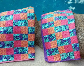 Set of 2 Handmade Baby Blanket Quilts, Lavender Handmade, Baby Blanket, Pink and Lavender, Baby Shower, Newborn Gift, Baby Girl Quilt