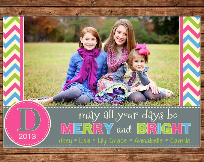 Christmas Holiday Photo Card Whimsical Merry Bright - Can Personalize - Printable File or Printed Cards