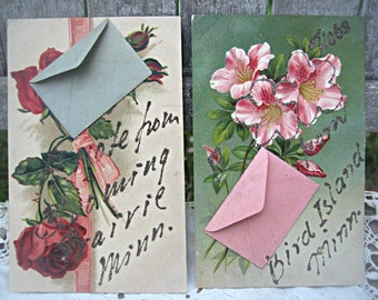 Vintage postcards, tiny envelopes, glitter postcards Minnesota postcards, made in Germany charming postcards set of 2 postcards floral cards