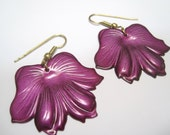 Vintage Metal Flower Petal Earrings purple
