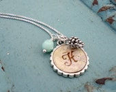 Personalized Bridesmaids Jewelry - Rustic Initial Monogram Letter Necklace with Pinecone - Birch Bark Jewelry - Winter Bridesmaids Gift