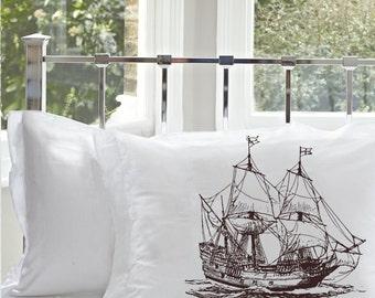 Clipper Ship pillowcase (1) Brown Nautical Sail Boat sailing sailor room decor high seas sailboat pirate vessel Standard pillow case cover