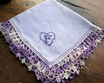"""Monogram  """"F"""" on Lavender  Linen Hanky with  Purple Crochet and embroidery"""