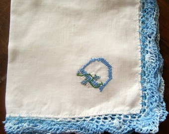 "Hand Embroidered ""D"" Monogram on Vtg White linen Hanky/Handkerchief with Blue  Crocheted Edge  Mint Condition"