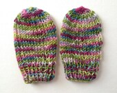 Hand Knit Corriedale Wool Baby Mittens - Spontaneous