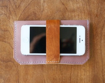Leather iPhone Wallet - The DaKoda - in Lavender and Caramel