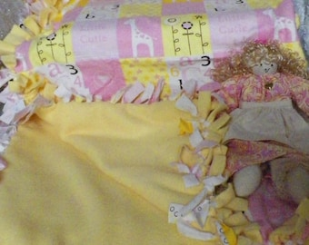 Flannel Fleece Tie Baby Blanket Yellow