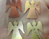 Copper or Brass  Angel Stamping/Charm(one pair)