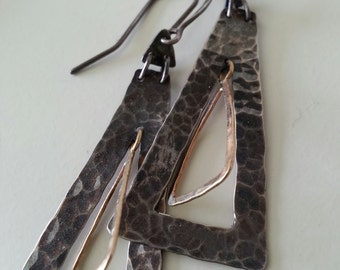 Geometric Earrings in 14Kt Gold and Sterling Silver