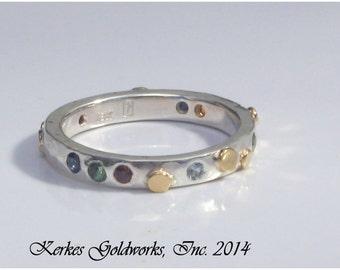 Sapphire Tourmaline Garnte Aquamarine Citrine Ring Gold and Silver Handmade