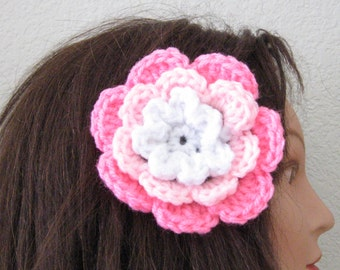Pink and White Rose Flower Hair Accessory Barrette Clip for Hats or Headbands