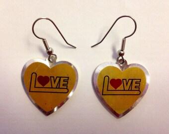 Vintage Two Tone LOVE  Heart Earrings Deadstock