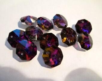 12 Purple Iridescent 14mm 2-Hole Chandelier Crystals Connectors (S-PB)