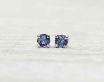 Tiny Tanzanite Earrings with Sterling Silver Posts, second hole lilac stud earrings