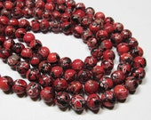 "7.5"" STRAND - Mosaic Magnesite Beads - 10mm Rounds - Deep Red, Black, Grey (7.5"" strand - 20 beads) - str595"