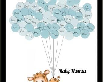 Giraffe Theme Guest Book Baby Shower Print for Boy