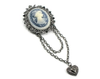 SALE 50% OFF Blue Girl - Gothic Lolita Brooch - Neo Victorian Cameo Brooch with Gunmetal Heart Charm and Chains - By Ghostlove
