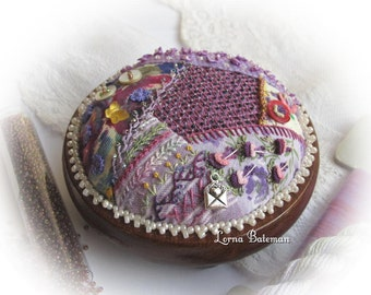 PP16 Crazy Patchwork Heirloom Treasure Purples - pincushion kit