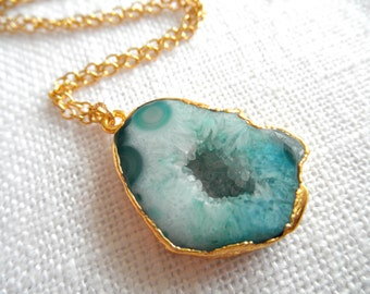 Blue agate necklace - gold necklace - agate necklace - blue necklace - D R U Z Y 273