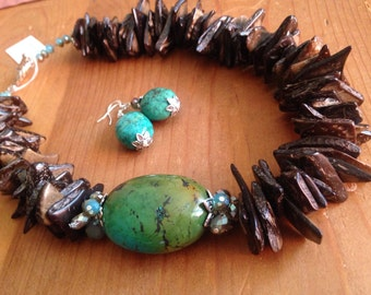 Asymmetric Turquoise, Coconut and Crystal Necklace and Earrings