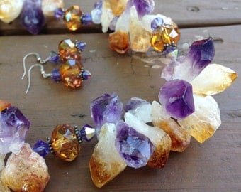 Amethyst and Citrine Chunks with Swarovski Crystals Sterling Silver Necklace and Earrings