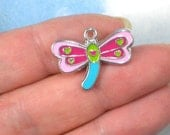 5 Dragonfly Charms Enamel & Silver Tone Turquoise Pink Green Tiny Hearts (P1731)