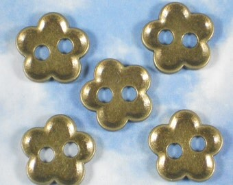 10 Bronze Buttons 19mm Scallop Edge 2 Hole Flower - doll faces or button clasps (P1100)