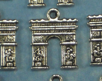 12 Arc de Triomphe Charms Arch Of Triumph Antique Silver Tone Two Sided (P484)
