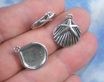8 Sea Shell Star Fish Silver Charms 22mm Pendants (P163)