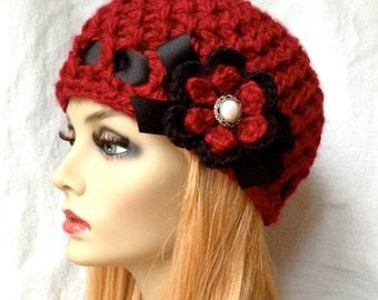 Valentines Hat Crochet Woman Hat, Beanie, Red, Very Soft, Chunky, Flower, Ribbon, Warm, Teens, Winter, Ski Hat, Cancer Hat E467B2