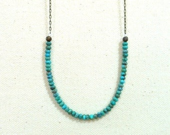 Turquoise necklace genuine turquoise long green turquoise jewelry