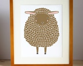 Brown Sheep Illustration Nursery Art, Children Decor