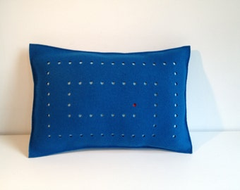SALE - Felt Pillow in Blue, Graphic Felt Pillow, Blue Felt Pillow, 3mm Felt Pillow, Maze Design Pillow