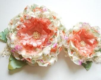 coral green bridal romantic roses, lfarm country weddings hair accessory, bridal hair flowers, bridesmaids headpieces, flower girls, autumn