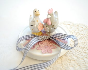 love nest, farm wedding party, ring bearer pillow, hen, chicken, goose, country, rustic, grey pale pink white, farm animals, cake topper