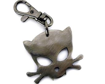 Outlaw Kitty Keychain by WATTO Distinctive Metal Wear Handmade Charm on Gunmetal Keychain / Keybob