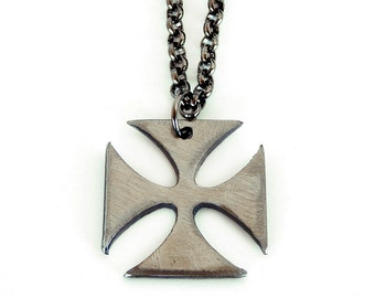 Iron Cross Charm, Mens Necklace, Metal Iron Cross Pendant with Gunmetal Chain by WATTO Distinctive Metal Wea, Gift for Biker, Gift for Him