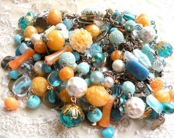 assemblage bead bracelet upcycle chunky blue orange large wrist