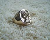 Janus Ring, god of new beginnings Mans Ring in Sterling Silver