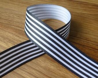 3 meters grosgrain black stripy ribbon 25 mm, free shipping within UK