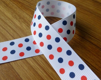 3 meters grosgrain blue and red spotty ribbon 25 mm, free shipping within UK