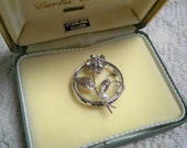 Vintage Jewelry Sterling Silver Brooch Cultured Pearl Circle Pin Floral Design Original Box 1960's