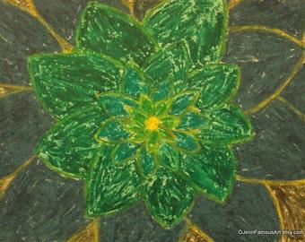 Green flower Bursts 8x10 print from original Oil Pastel Flower Drawing