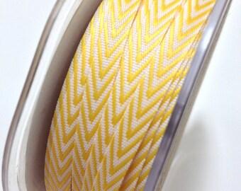 Chevron Twill Herringbone Ribbon - Yellow - 1/4 Inch Width - Packaging and Gift Ribbon 50 Yards Full Spool Single Color