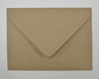 Recycled Brown Kraft Euro Flap Envelopes A7 - 5 1/4 x 7 1/4 Inches - Set of 100
